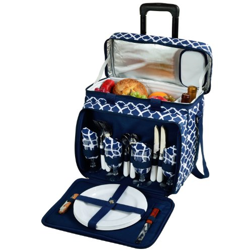Picnic at Ascot Equipped Picnic Cooler with Service for 4 on Wheels - Trellis ()