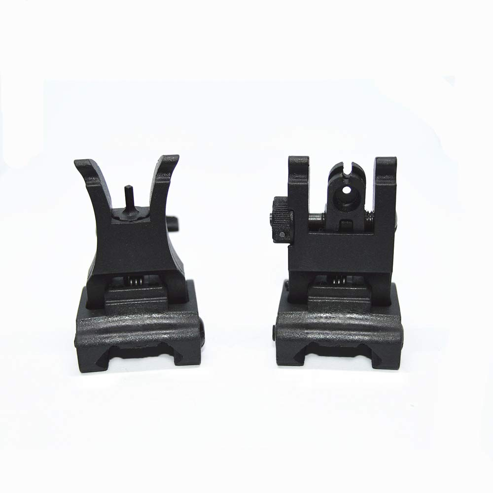 HWZ Front and Rear Sight for Flat Top Rifles Low Profile Flip-Up Sight Set (Black) by HWZ