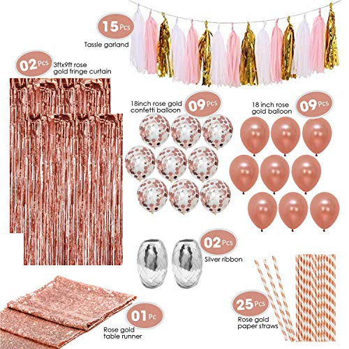 Artunique 63pc Rose Gold Party Decorations Kit | Huge 18 inch Latex and Confetti Balloons (18) | Sequin Table Runner (1) | Fringe Curtain (2) | Ribbon (2) | Paper Straws (25) | Tassle Garland (15) -
