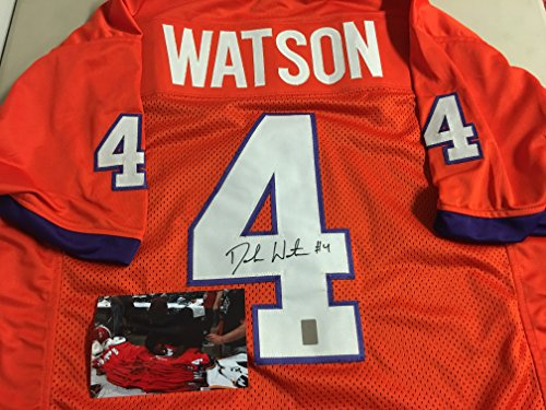 Deshaun Watson Autographed Signed Clemson Tigers Jersey GTSM Watson Player Hologram w/Photo From Signing