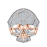 RUDRAFASHION Men's & Women's 14K Rose Gold Plated 3.80 ctw Created White Sapphire Half Jaw Skull Ring