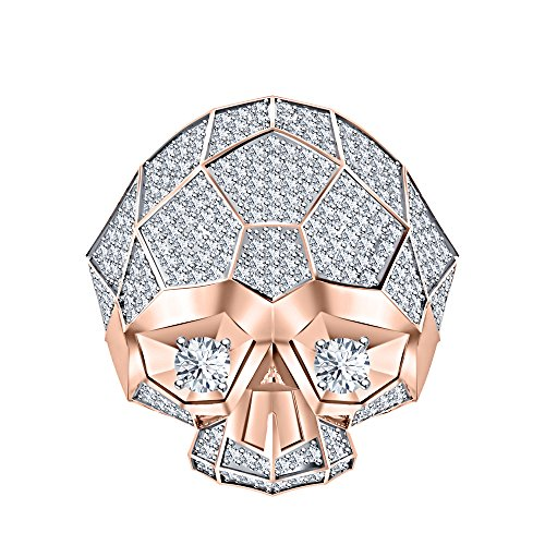 RUDRAFASHION Men's & Women's 14K Rose Gold Plated 3.80 ctw Created White Sapphire Half Jaw Skull Ring by RUDRAFASHION