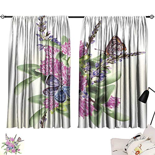 Bulldog Camo Panel - SINXY&CASE Pocket Thermal Insulated Tie Up Curtains Flower Seamless Wallpaper Pattern with Butterflies for Design 72