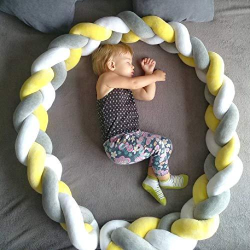 Baby Crib Bumper Knotted Braided Plush Nursery Cradle Decor Newborn Gift Pillow Cushion Junior Handmade Bed Sleep Bumper Gray+White+Yellow 157 inch