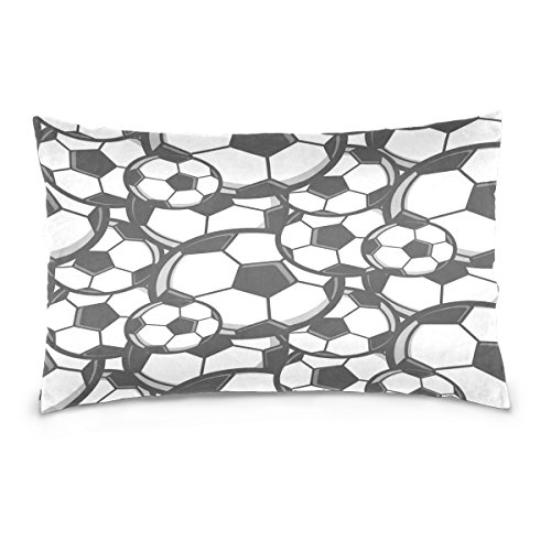 ALAZA Sport Ball Soccer Football Cotton Lint Pillow Case,Double-sided Printing Home Decor Pillowcase Size 16''x24'',for Bedroom Women Girl Boy by ALAZA
