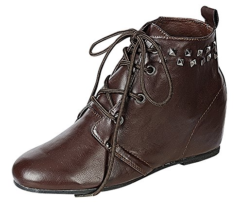 Reneeze KATE-03 Womens Hidden Wedge Fashion Booties – BROWN-8.5