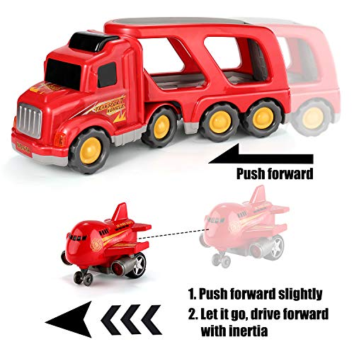 TEMI Fire Carrier Truck Transport Car Play Vehicles - 5 in 1 Friction Power Set w/ Real Siren Sound & Bright Flashing Light, Push and Go Play Vehicles Toys w/ Mini Cartoon Bus/Taxi/Airplane