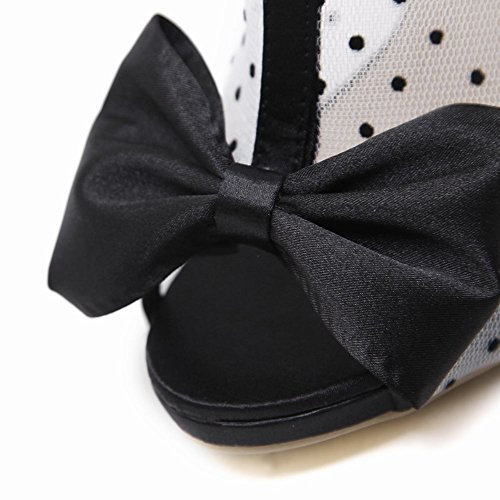 Sexy Summer Carolbar Toe Bows Peep Fashion Women's Boots Zip Black High Heel 5RzRq