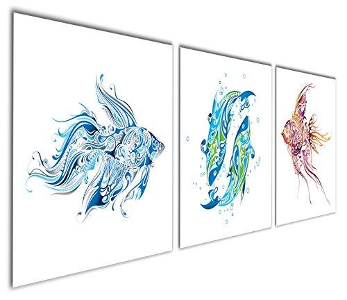 Gardenia Art - Animal World Series Blue, Green and Brown Fish Canvas (Folk Art Fish)