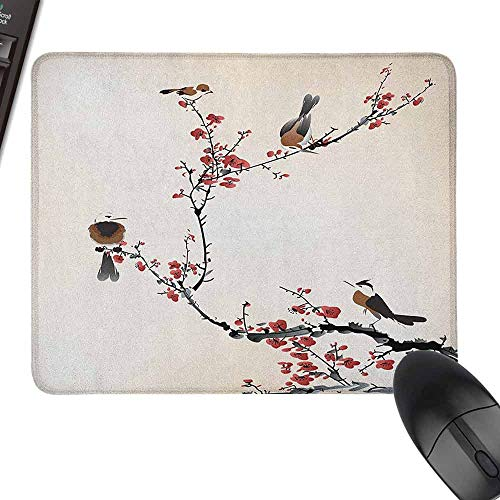 Mouse Pad Nature Birds on Cherry Tree Branches Summer Classic Oriental Artful Illustration for Laptop, Computer and PC,15.7