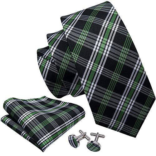 - Barry.Wang Black and Green Ties for Men Set Hanky Cufflinks