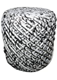 Round Woven Pouf WONDER in Black & White Zebra pattern. Soft Wool Spun like a Cone of Yarn in Melange Off-White & Black. Soft and Sturdy. 16'' High, 18'' Diameter.