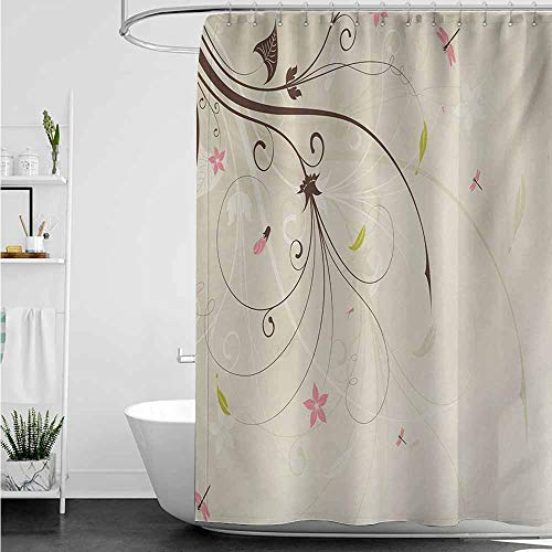(home1love Bathtub Splash Guard,Dragonfly Spring Field Bouquet Shabby Chic Abstract Blossom Greenland Graphic Art,Fabric Shower Curtain Bathroom,W55x84L,Tan Brown Pale Pink)