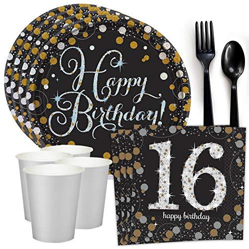 Costume SuperCenter Sparkling Celebration 16th Birthday Standard Tableware Kit (Serves 8) for $<!--$14.53-->