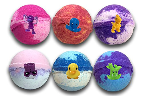 - Kids Bath Bombs Gift Set W/ Surprise Toys, 6-5oz XL Bath Fizzies , Kid Safe , Gender Neutral , organic, bath bombs for kids , Made In USA
