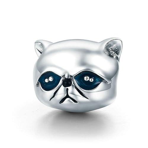 Garfield - Abalorio para pulsera y brazalete, diseño de gato, 100% plata de ley 925: Amazon.es: Joyería