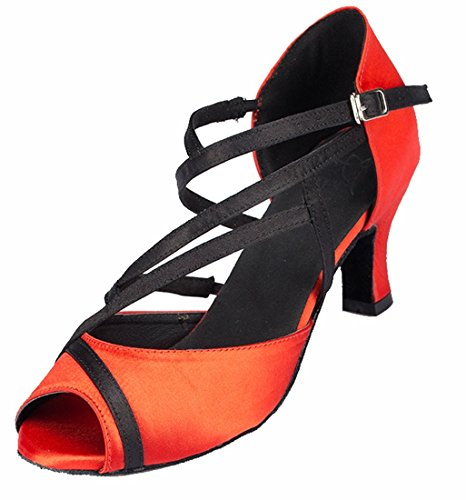 Floral 6cm Peep Strap Salsa Party Joymod Dance Comfort MGM Modern Sandals Heel Latin Ankle Red Prom Satin Salsa Toe Tango Social Wedding Shoes Women's qBtP8