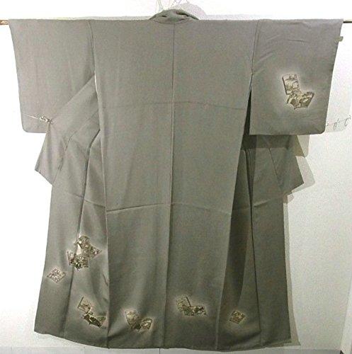 コウモリきしむカバーリサイクル 着物 付下 訪問着 草子に平安貴族 刺繍 正絹 袷 裄68cm 身丈162cm