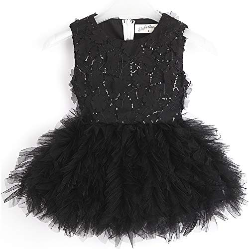 Flofallzique Flower Tutu Sequined Girls Dress Easter Wedding Party Baby Girls Clothes(8, Black)