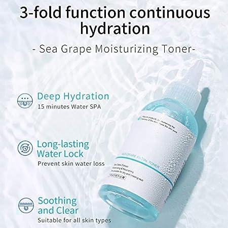 Tónico hidratante para la piel de 110 ml de uva de mar, aceite biológico hidratante calmante, aclara y rellena la piel, tónico nutritivo facial antienvejecimiento y arrugas para el cuidado de la piel