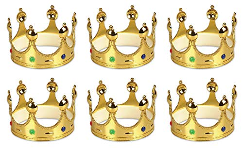 Gold King Prince Queen Crowns - 6 Pack]()