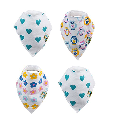 Baby Bandana Dribble Bibs Drool Bibs and Teething Bibs 100% Organic Cotton Cute Baby Gift Set of 4