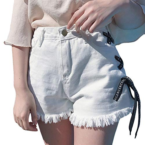 VEZAD Fashion Jeans Women Summer Bandage Denim Shorts Tassel Wide-Leg Pants