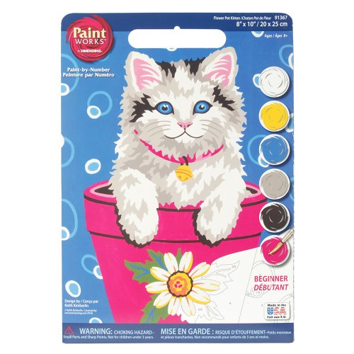 Dimensions Needlecrafts Paintworks Paint By Number, Flower Pot Kitten