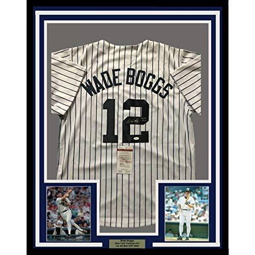 (Framed Autographed/Signed Wade Boggs HOF 05 33x42 New York Pinstripe Baseball Jersey JSA COA)