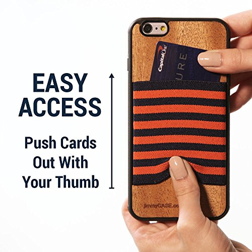 jimmyCASE iPhone 6/6S Ultra Slim Protective Credit Card Wallet Case, Orange and Navy Blue Stripe by jimmyCASE (Image #5)