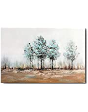 1 KINGO Hand Painted Large Abstract Landscape Canvas Wall Art - Teal Landscape Forest Aspen Painting - Home Decor for Living Room Bedroom Bathroom (Green)