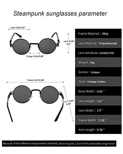 de YANQIUYU Cadre Disponible rétro en ronde soleil cercle John Lens à Steampunk Black métal gothique Black ressort Frame jour Abat Lunettes Lennon 0rqPO0