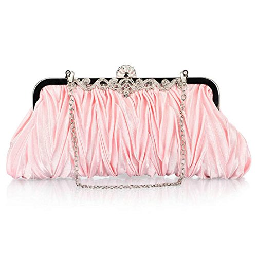Girl's For Women Clutch Satin Bags Wedding Bouffancy Gold Flower Crystal Pink Flada Shiny Party Aznq0Ad