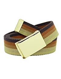 Girl's School Uniform Gold Military Style Flip Top Belt Buckle with Canvas Web Belt