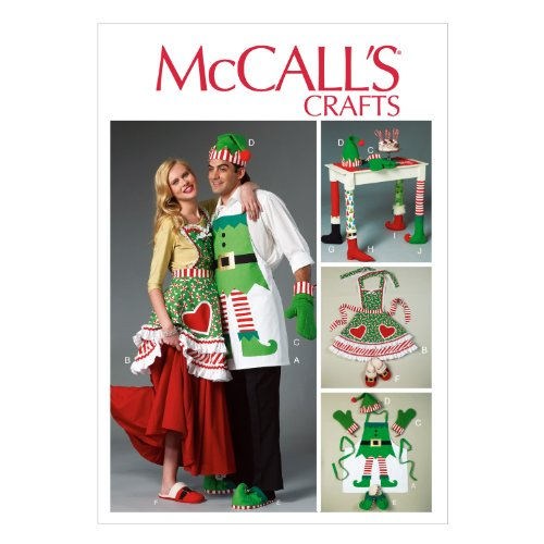 McCall Pattern Company M6860 Aprons, Oven Mitts, Hat, Slippers and Table Leg Decorations Sewing Template, All (Mccall Apron)
