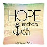 Athena Bacon Pillowcase Decor Cover Christian Religious Bible Verse Inspirational Quotes 18x18 cusion case, Hebrews 6:19 Hope Anchor The Soul Throw Cushion Case Pillowcase 18x18 inch