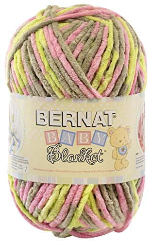 Bernat  Baby Blanket Yarn - (6) Super Bulky Gauge  - 10.5 oz -  Little Girl Dove  - Single Ball  Machine Wash & - Pink Bowl Punch