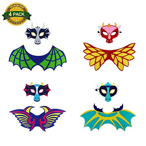 4 PCS Dragon Mask Wing Sets, Kids Dragon Costume Wings Mask Hollaween for Boys Girls Children Dress Up Party Masquerade Gifts Indoor Outdoor