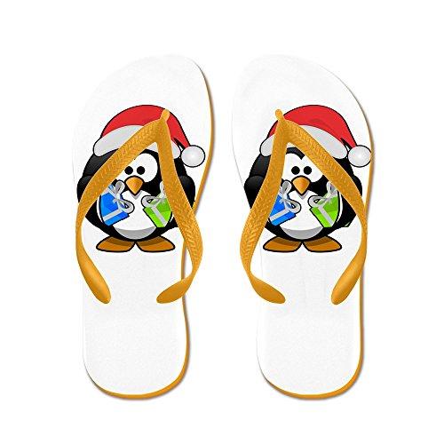 Echt Teague Heren Kleine Ronde Pinguïn - Kerstcadeautjes Rubberen Slippers Sandalen Oranje
