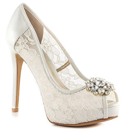 GUESS Women's Hotspot White Lace Pump 10 M (Guess Men Dress Shoes)