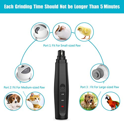 Gyrategirl Dog Nail Grinder, 2 Speed Pet Nail Trimmer Clipper Quite Painless,Rechargeable Pet Nail File with Working Long time,3 Grinding Ports Pet Electric Paw Trimmer Grooming for S/M/L Dogs Cats.