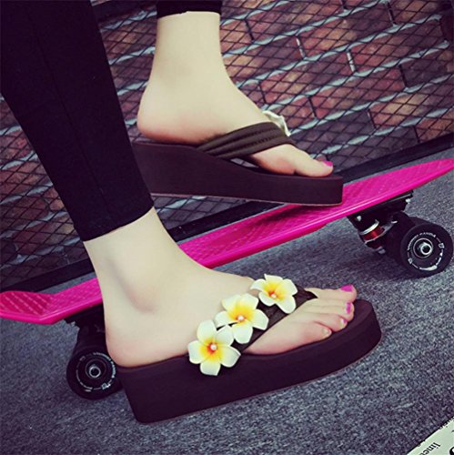 Simple pendiente con la palabra zapatillas deslizadores de fondo grueso zapatillas zapatos de playa de señoras 6