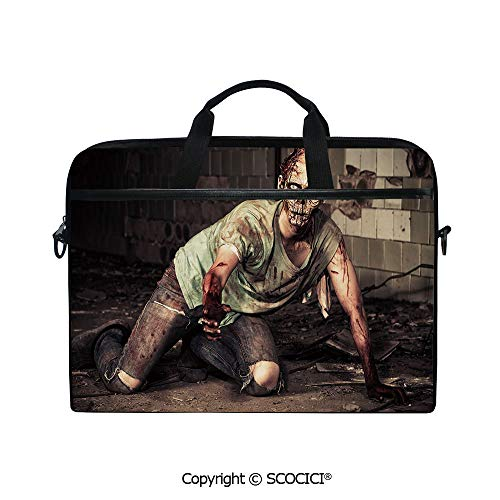 Printed Waterproof Laptop Shoulder Messenger Bag Case Halloween Scary Dead Man in Old Building with Bloody Nightmare Theme for 15 Inch Laptop Notebook]()