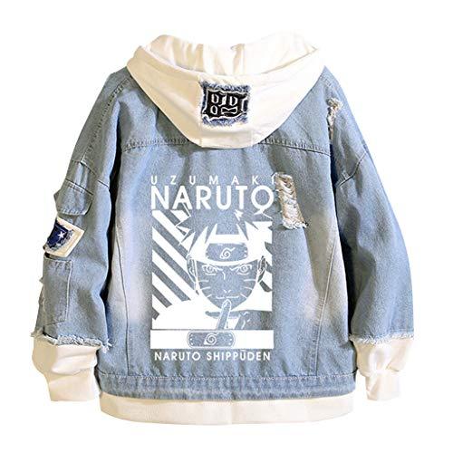 SAFTYBAY Naruto Hoodie Denim Jacket Unisex Button Down Jeans Coat Akatsuki Hatake Kakashi Uchiha Sasuke Uzumaki Naruto