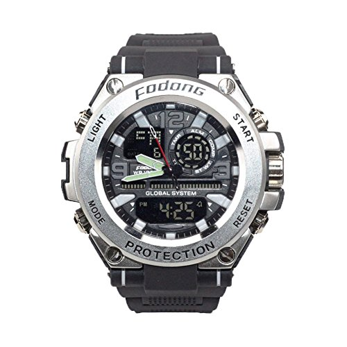 Fodong Mens Waterproof Sport Watches Dual Display Large Dial Sports Watch Casual Digital Watch Sliver
