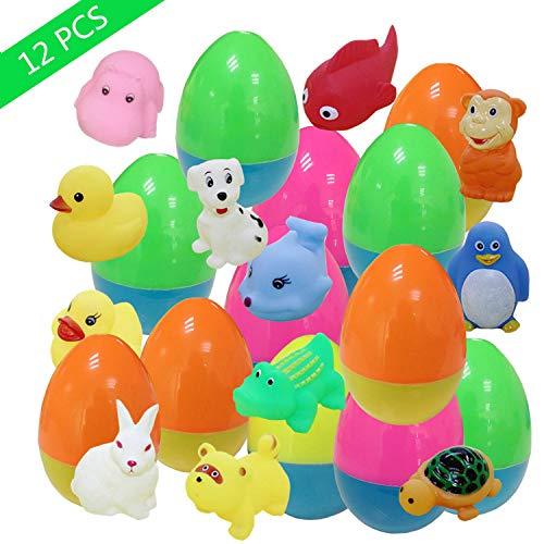 KAZOKU 12 Pack Prefilled Plastic Easter Eggs Filled with Toys Inside for Bulk Easter Egg Hunt Games, Easter Basket Stuffers Gifts Toy for Toddlers Kids Boys Girls