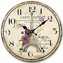 NUTK Wooden Wall Clocks, 14 inch Decorative Silent Round Home Decor Clock Non-Ticking,Vintage/Country/French Style