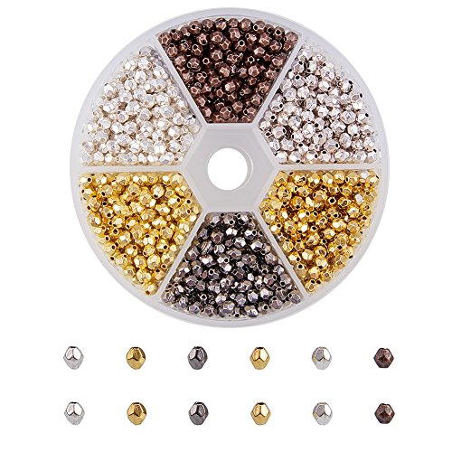 PH PandaHall 1 Box 1200 PCS 6 Color Oval Faceted Antique Tibetan Alloy Spacer Beads Jewelry Findings Accessories for Bracelet Necklace Jewelry Making - Oval Spacer