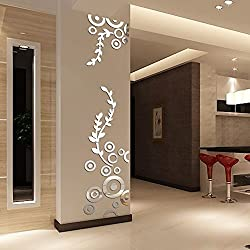 certainPL Creative Circle Ring Acrylic Mirror Wall Stickers 3D Home Room Decor Decals (Silver)