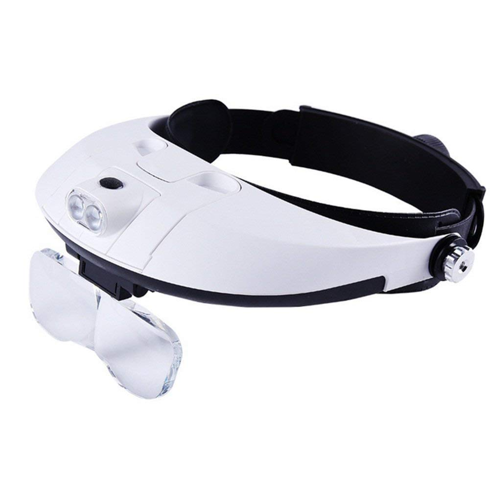 Magnifying Glass Headband Magnifier with LED Light, Handsfree Reading Magnifier Glasses, Magnifying Glasses with LED Light 5 Detachable Lenses for Reading, Jewelry Loupe, Electronic Repair for Macular